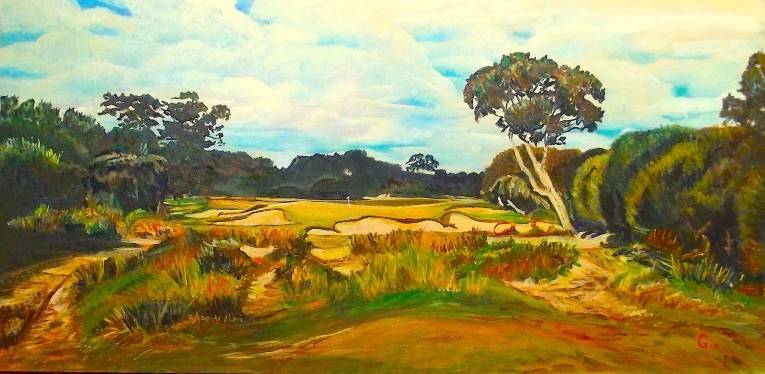 Kingston Heath, considered the second finest course in Australia, winds its way through the heathland a few miles north of Melbourne. This view of the 10th hole illustrates well the bunkering artistry of Alister Mackenzie. Painting based on Benjamin Litman's photo.