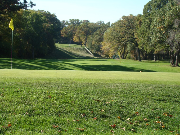 This view looking back down the fourteenth captures the flight 39 steps used to plummet the golfer into the river valley after his tee shot.