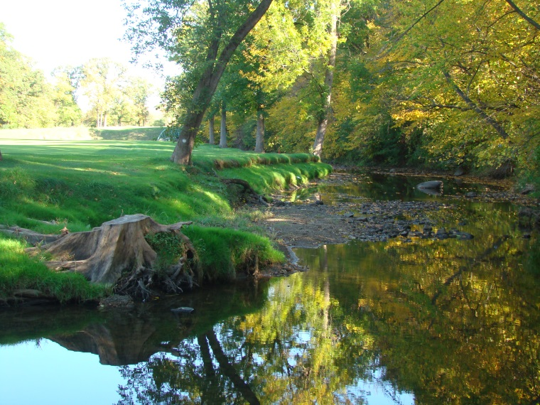 While Green Keepers may disagree, a creek is one of the most wonderful features to bless a parkland course. Here, Butterfield Creek parallels the fairway for 150 yards along the right.
