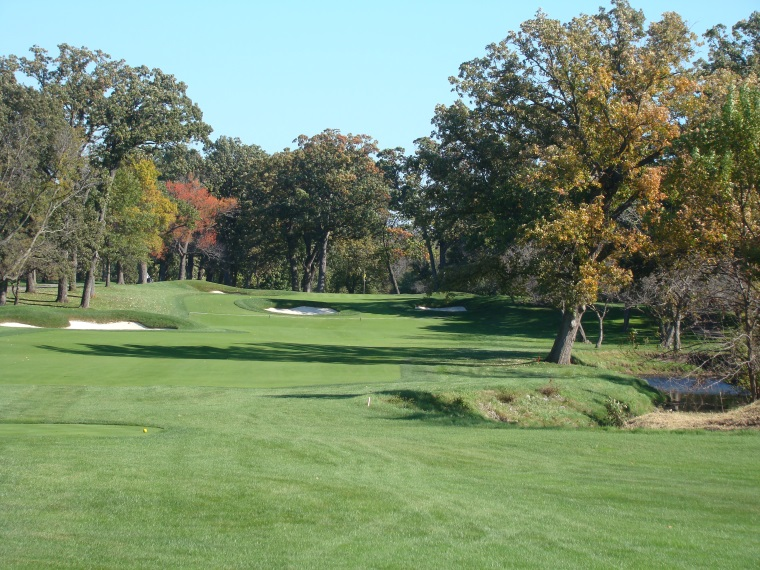 The best holes on the North Course, such as the seventeenth above, feature both topography and winding Butterfield Creek.