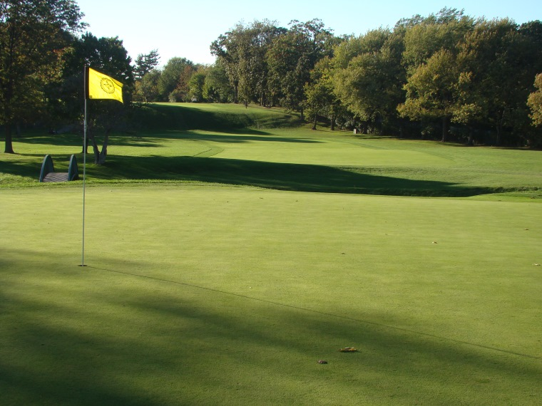 Looking back, the golfer appreciates the twenty-five foot stair-step descent approximately 215 yards from the green.