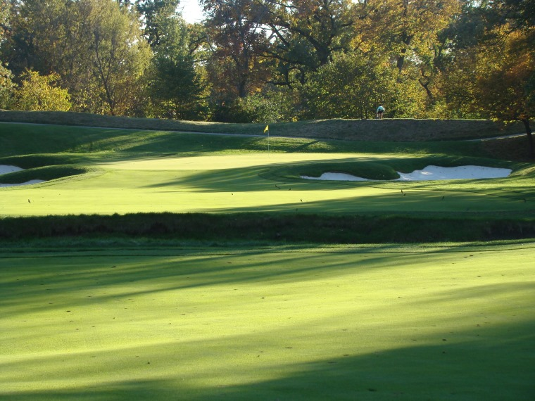 Similar to the photo of the fourth fairway above (which is in the most densely forested portion of the property), look at how the twelfth green is swathed in sunlight. Pre 2003 U.S. Open, too many trees prevented proper conditions for such healthy turf. Though the soil is heavy, when nature cooperates, MacKenzie can give the members the green grass they cherish while giving an organization like the U.S.G.A. fast and firm.