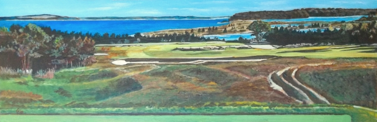 NGLA: A view from the tee at #17 on the National Golf Links of America. The doyen of British golf writers, Bernard Darwin, early in the last century considered this the finest view in the entire world of golf. Painting based on photo supplied by Jon Cavalier.