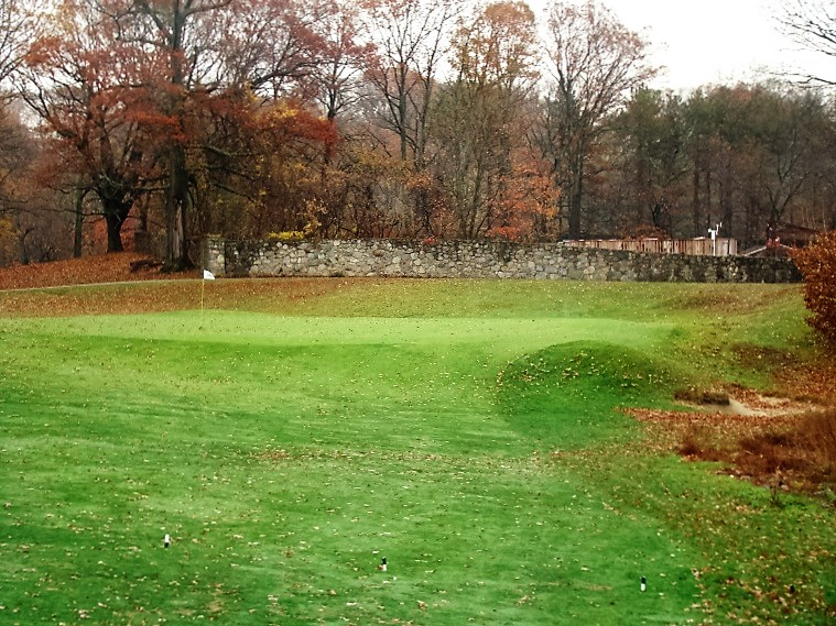 The intermediate size green is one of the harder targets to find on the course. Like the fourth, Curtin's green expansion allows balls to release and bleed off the front right, down into the gathering greenside bunker.