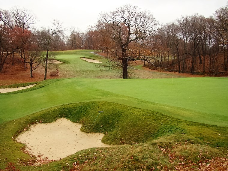 One of Donald Ross's mightiest accomplishments was the design and construction of the George Wright Golf Course for the City of Boston. The view above is across the third green to the one-shot fourth.