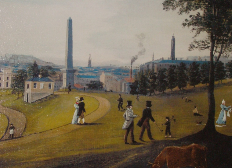 Glasgow Green is an early painting depicting people carrying loose golf clubs.