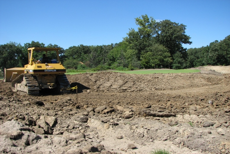 Bunker construction underway. Note the nose of the front bunker taking shape.