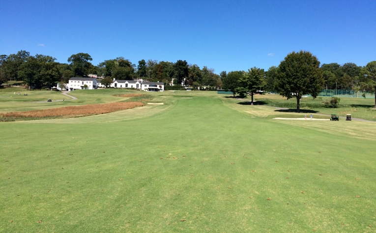 Holston Hills Country Club, 18th fairway, 2015. With full sunlight, turf is now strong and healthy.