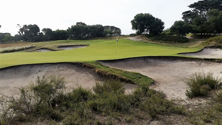 As seen from the side, the fierce back to front cant replicates the terrors of putting on the Eden green at St. Andrews.