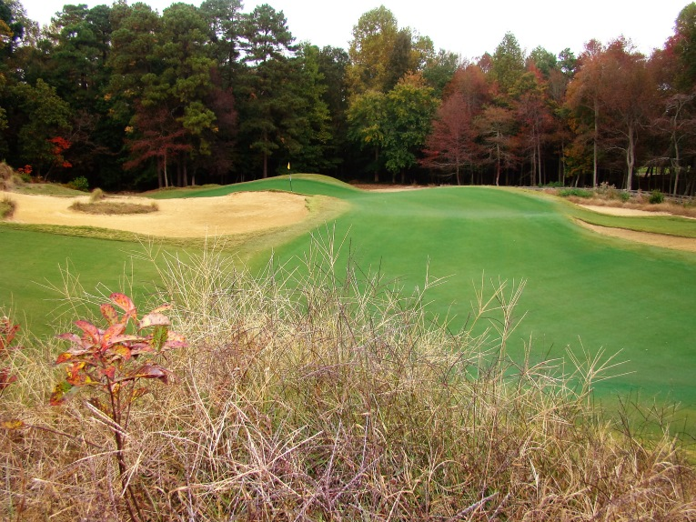 The wide, shallow, heavily undulating green offers a myriad of hole locations.
