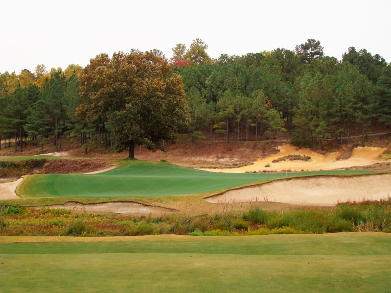 The angle into a top tier hole location at the seventh is much more user-friendly from forty yards left of where this photograph was taken.