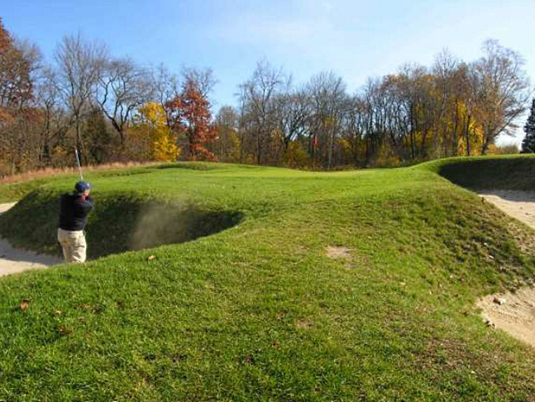 Even the most experienced of Myopia's players find themselves in #9's bunkers from time to time.
