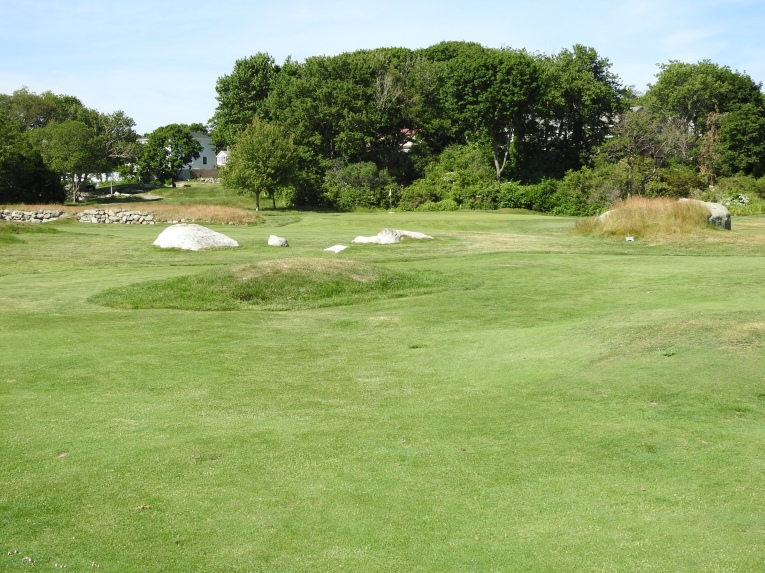 The approach to the 12th green requires playing around and over mounds, exposed ledge, boulders and stone walls. It is typical of the kinds of terrain through which Leeds found and designed golf holes. Nothing of the sort is found on any of today's modern courses. Some players are thankful, others enjoy the quirky aspect of early American golf.