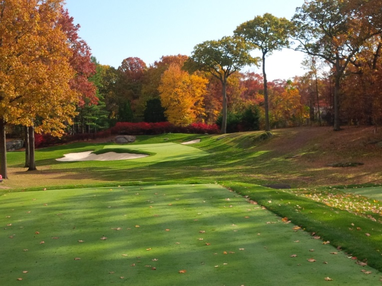 Taken just days after completion (hence why there is no flagstick), the par-3 third hole of Winged Foot's East Course was the first hole to be restored when Gil Hanse's team began work in October 2013