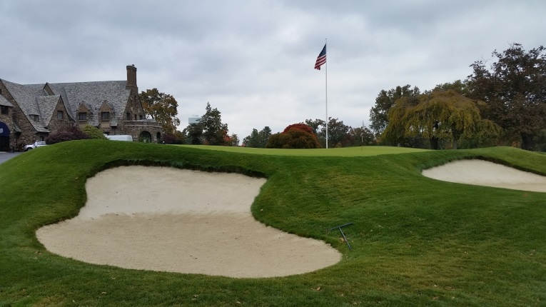 The same bunker post restoration with a more natural shape and grassed over edges.