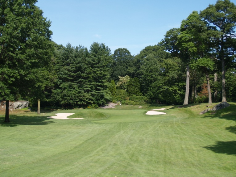 Over time the third green had become smaller and circular, requiring a long carry over rough with spin out of the left bunker. The large trees around the green also limited sunlight and air circulation in this corner of the property making growing conditions difficult for a hole that received numerous pitch marks given its distance and elevated tee.