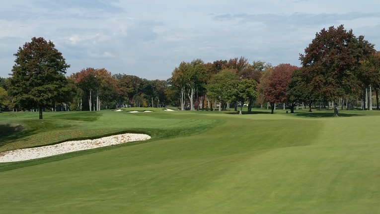 After replacing a group of pine trees on the inside corner of the dogleg with the bunker above, excitement has been restored to this par-5 which can now be reached with two quality shots by longer hitters.