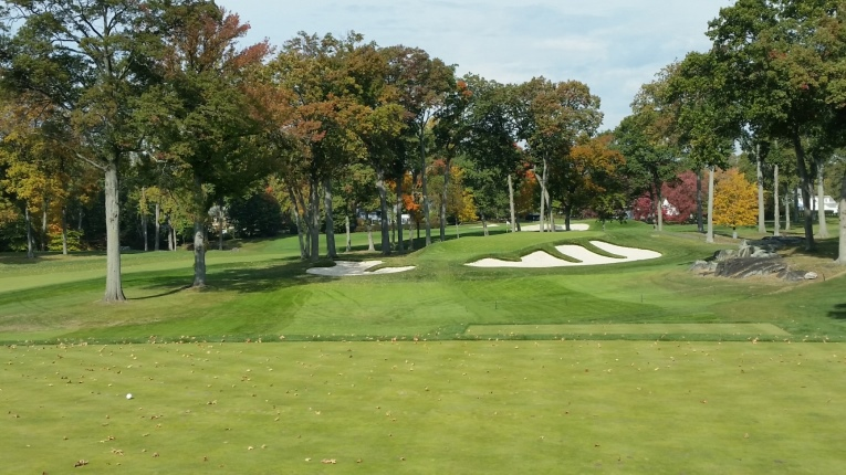 It has been written that Winged Foot is the toughest up and down course in the world and the 13th on the East Course is Exhibit A. The right side of the right bunker is more than 12 feet below the surface of the green making it extremely difficult to get the ball to check when it lands.