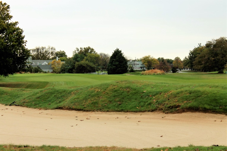 Courtesy of the tee being moved back and left, this diagonal bunker is once again the dominant feature off the tee.