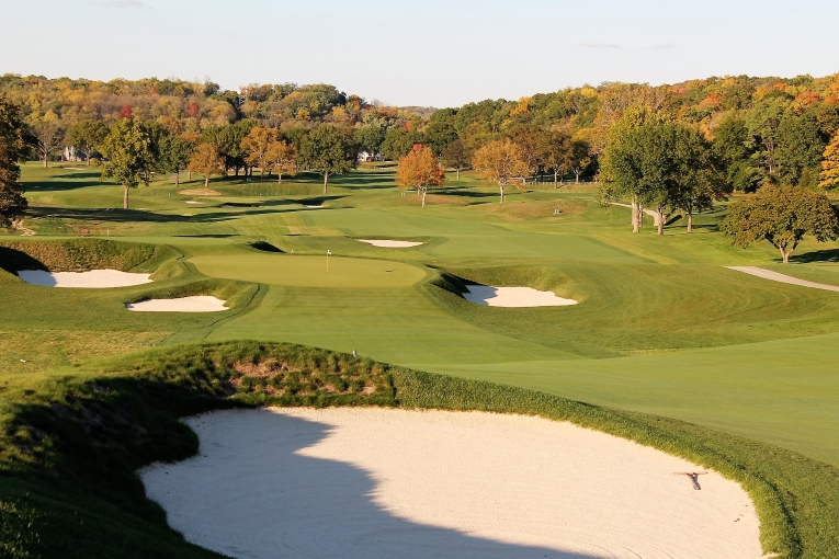 A tee ball at sixteen that splits the left and right fairway bunkers will leave the golfer with a nervy pitch to a tall green pad surrounded left right and behind by deep bunkers.